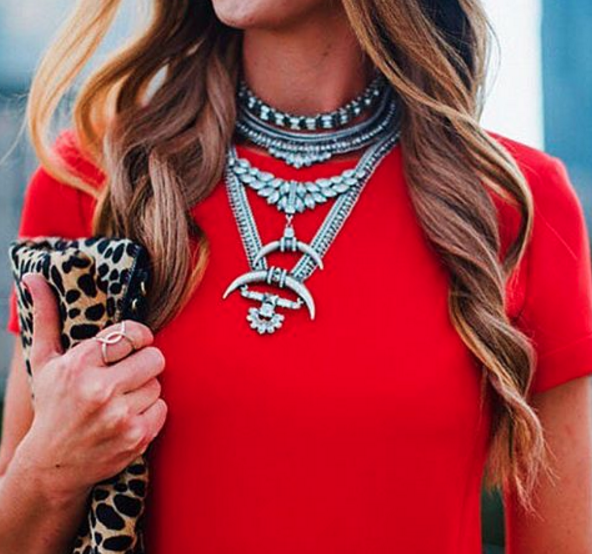 Donna Morgan red dress paired with BaubleBar statement necklace for a trend right pre-Fall outfit