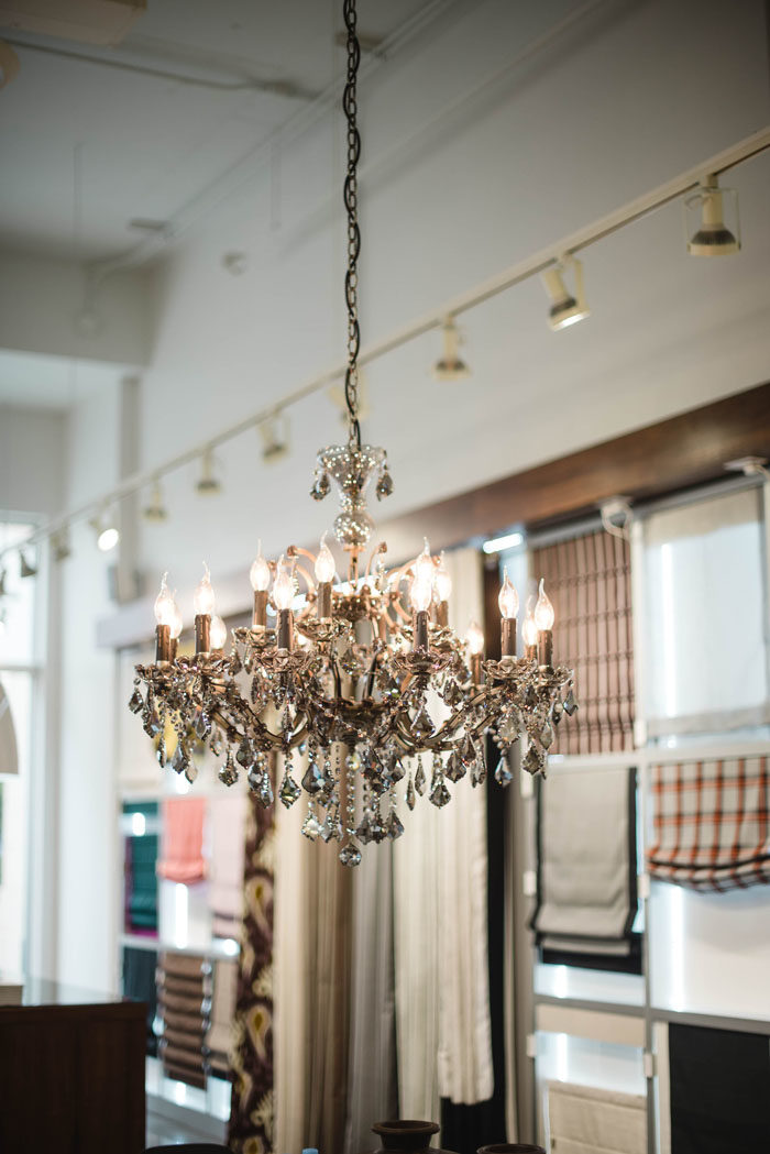 Beautiful crystal chandelier at The Shade Store in Charlotte, NC.