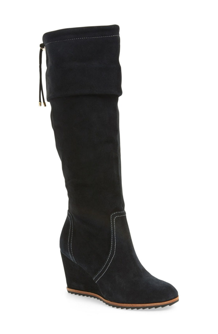black wedge suede boots
