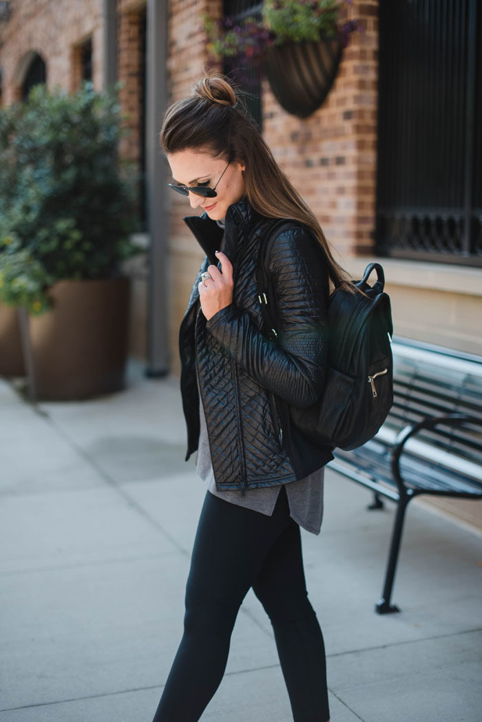 "Blogger Mallory Fitzsimmons of Style Your Senses pairs this Zella quilted sport jacket with Zella ""Live-In"" leggings for a chic mom-on-the-go look."