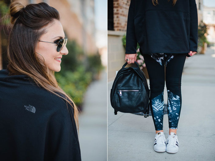 "Blogger Mallory Fitzsimmons of Style Your Senses wears Zella tights and a Northface Poncho for a ""cool mom"" athleisure look."