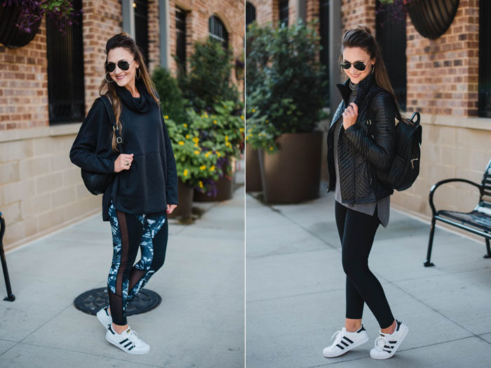 Blogger Mallory Fitzsimmons of Style Your Senses shares two athleisure looks to keep you chic in the carpool line.