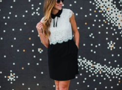 Blogger Mallory Fitzsimmons of Style Your Senses wears a girly black and white lace dress with peter pan collar and bow