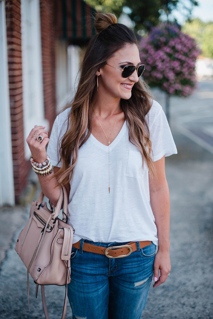 Madewell white t-shirt with delicate Baublebar necklace.