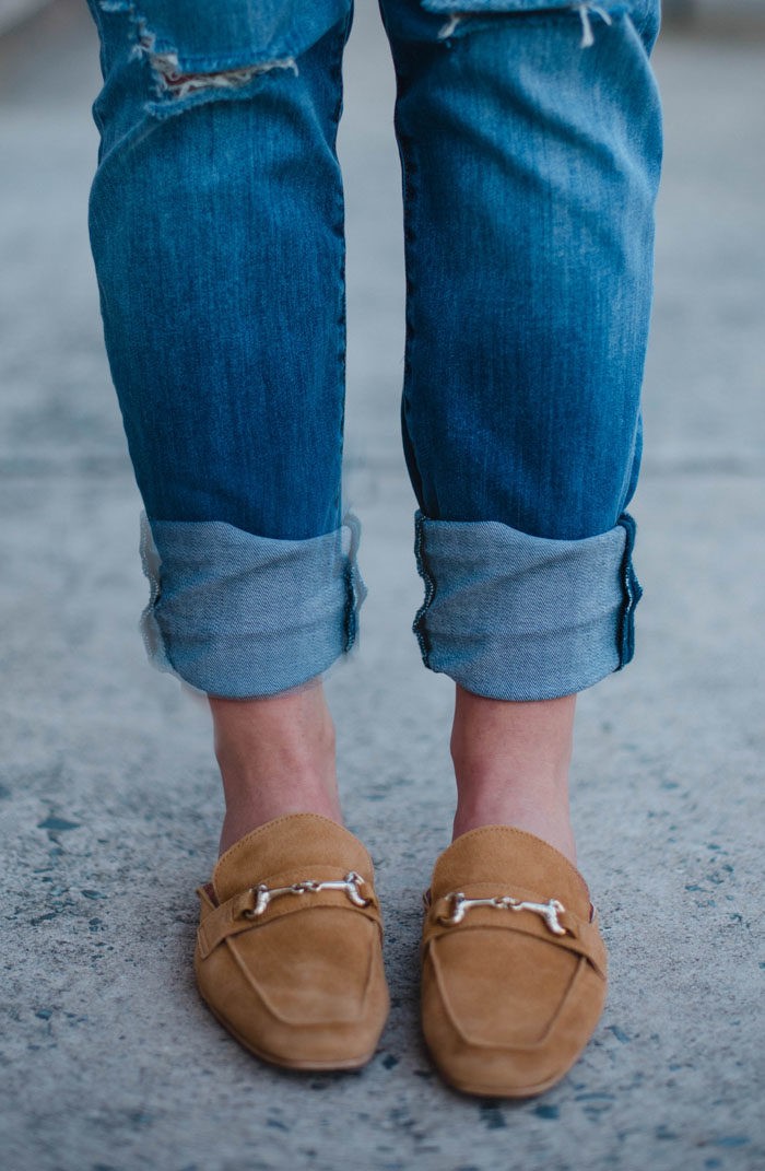 Cuffed Boyfriend Jeans with Steven Loafers.