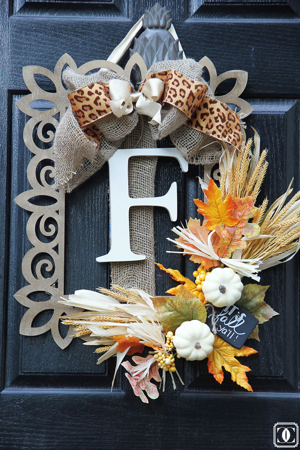 DIY Fall Wreath using a wooden frame and monogram