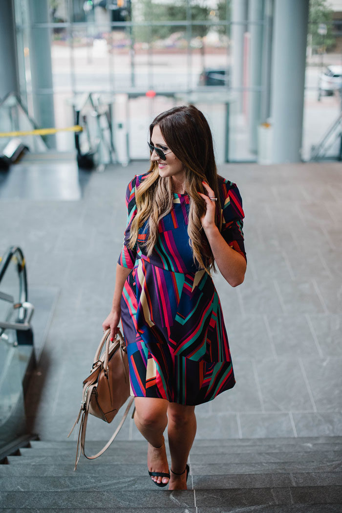 Blogger Mallory Fitzsimmons of Style Your Senses shows how to transition your work wardrobe from Summer to Fall with on trend colors.