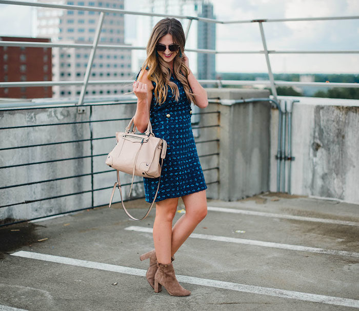 Blogger Mallory Fitzsimmons of Style Your Senses wearing an updated tweed dress by Sail to Sable for early Fall transition.