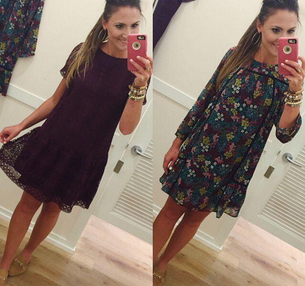 Blogger Mallory Fitzsimmons wears LOFT dresses for Fall transition