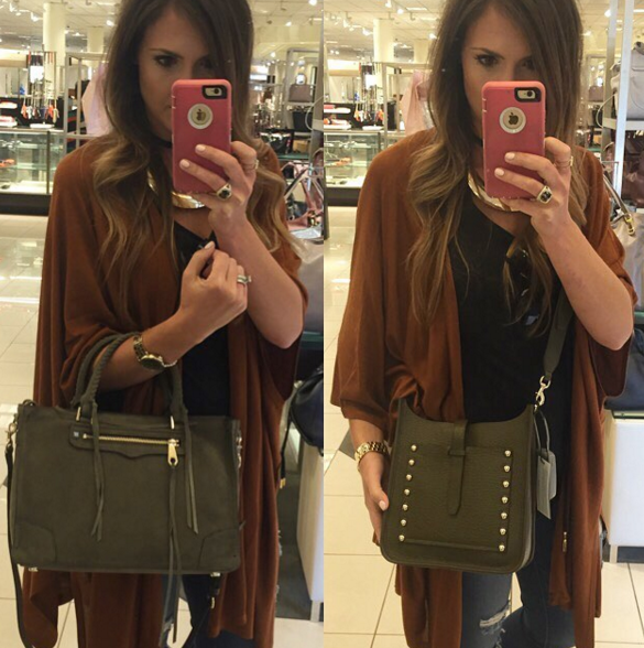 Blogger Mallory Fitzsimmons debates between two of the hottest Rebecca Minkoff bags for Fall in olive green
