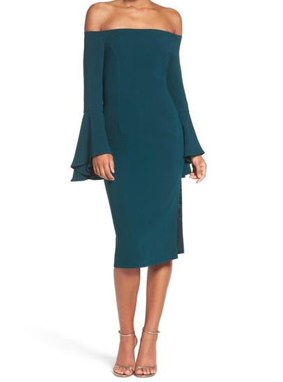 Turquoise off the shoulder dress with bell sleeves