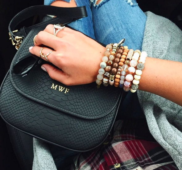 This monogrammed Gigi New York crossbody paired with these glam boho bracelets and flannel is the perfect Fall look