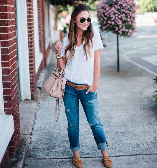 Casual and cool outfit with a white t-shirt, boyfriend jeans, mules and delicate gold accessories