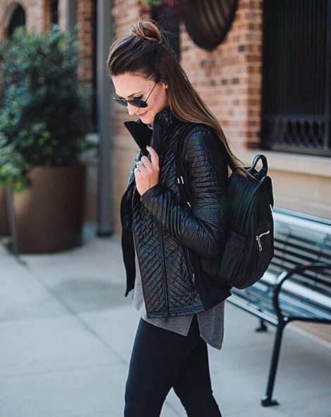 This quilted athleisure jacket takes your mom style up a notch.