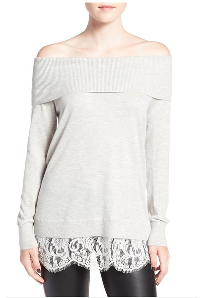 Off the shoulder sweater with darling lace detail. Perfect to wear with leggings and boots for a Fall date night