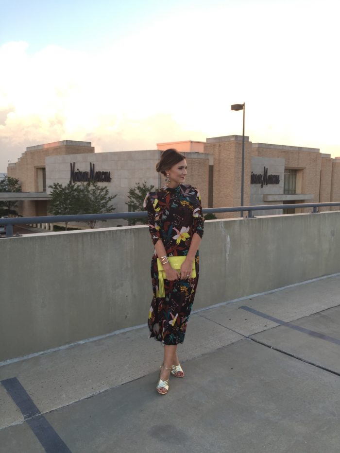 Blogger Mallory Fiztsimmons of Style Your Senses wears a floral HM Midi Dress and Gold Asos heels for a Neiman Marcus event in Charlotte, NC