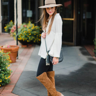 Blogger Mallory Fitzsimmons of Style Your Senses wears a Free People bell sleeved blouse, over the knee boots and tan felt hat.