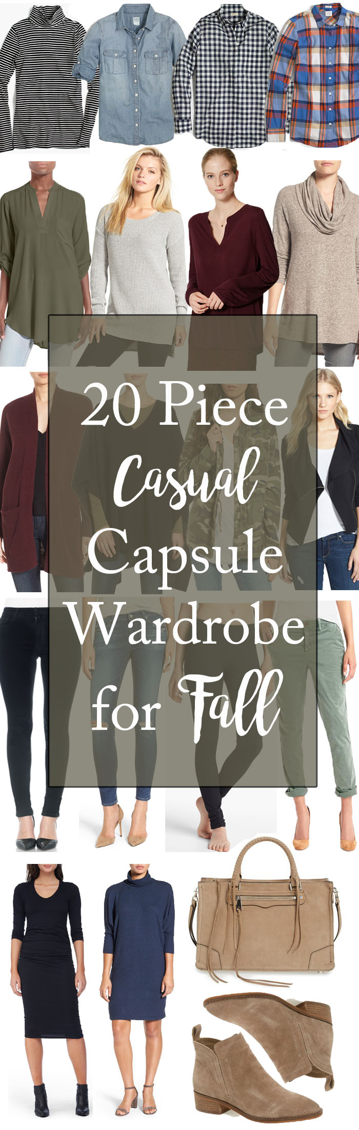 A 20 piece capsule wardrobe for Fall for busy moms on the go, complete with outfit suggestions and tips on how to wear each piece.