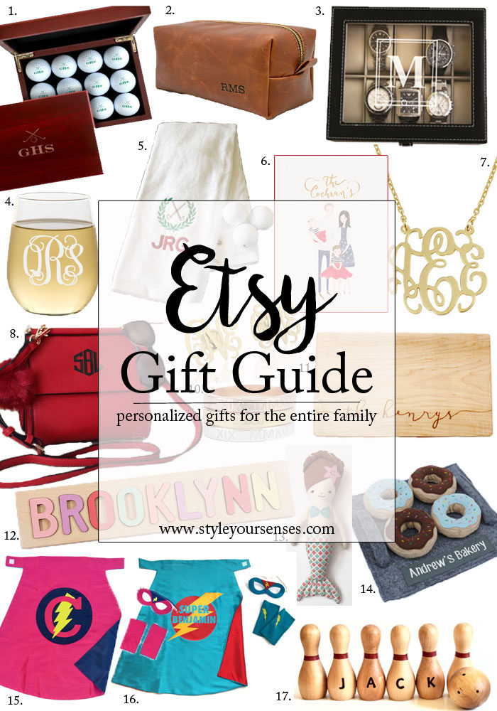 Etsy Gift Guide with personalized gift ideas for the entire family