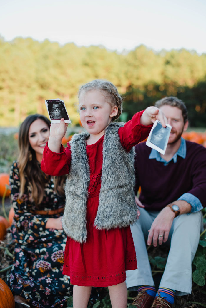 Fall pumpkin patch pregnancy announcement