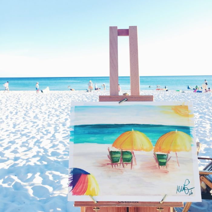 pastel painting by the beach
