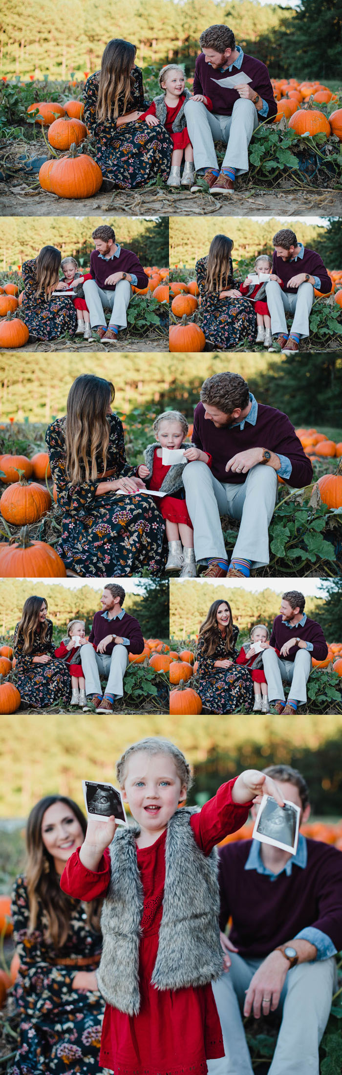 Fall pumpkin patch pregnancy announcement