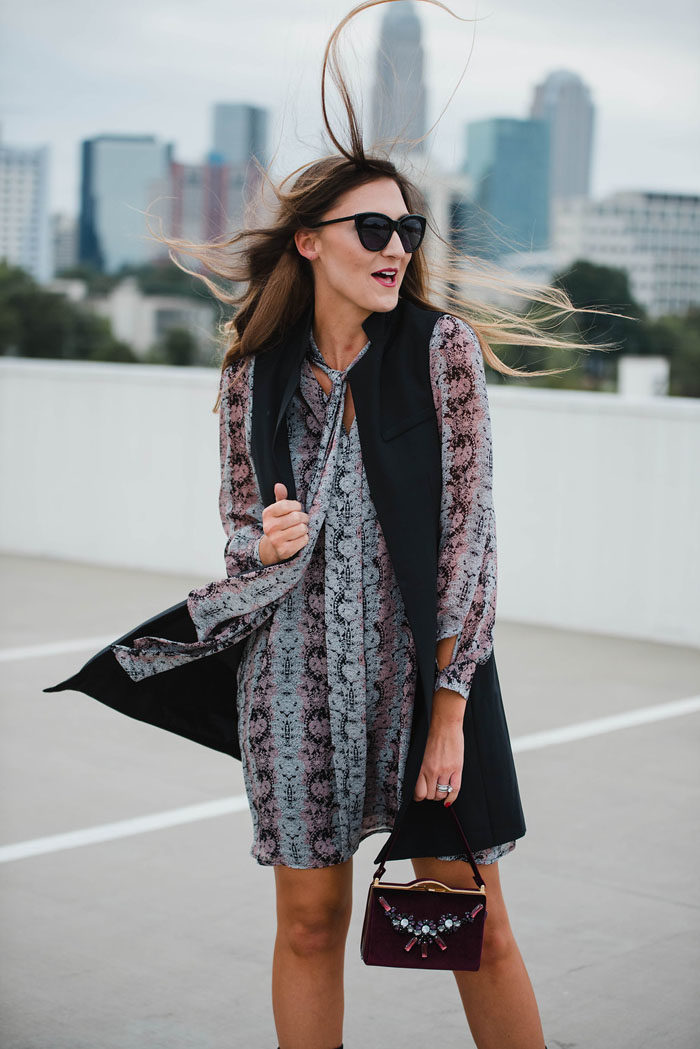 paisley-shirt-dress-with-black-trench-vest-156