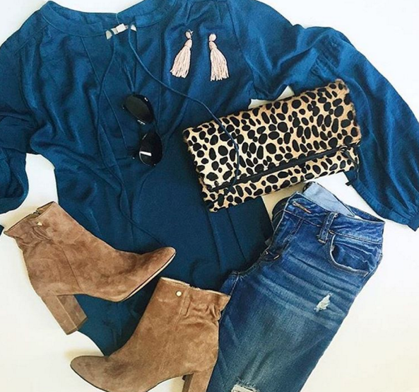 Gorgeous blue blouse styled with skinny jeans and mid calf booties