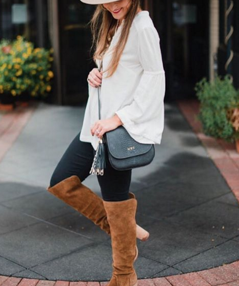 Cute and casual Fall outfit idea with over the knee boots and a boho blouse