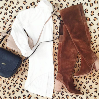 Fall outfit idea flatlay with over the knee boots and cross body bag