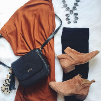 Rust cardigan with leggings and booties for a perfect Fall #ootd