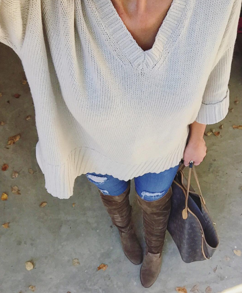 Cosy sweater paired with over the knee boots and louis vuitton bag