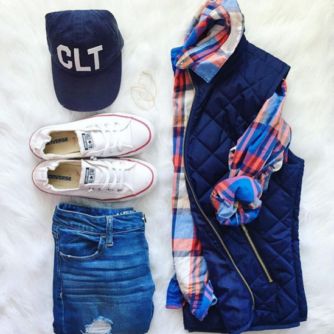Cute and casual Fall outfit with quilted vest , plaid shirt and booties