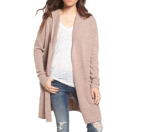 marled knit hooded cardigan