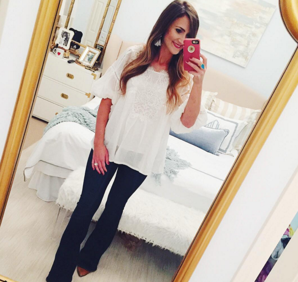 Paige flare jeans with a lace boho top