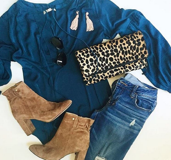 I love the rich blue of this top paired with a pop of leopard and cute booties