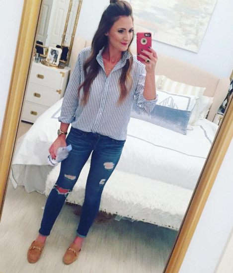 Stripe button up with distressed skinny jeans for a causal mom style look
