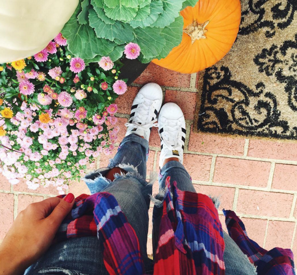 Pair your Adidas sneakers with boyfriend jeans and a flannel for the most comfy casual outfit