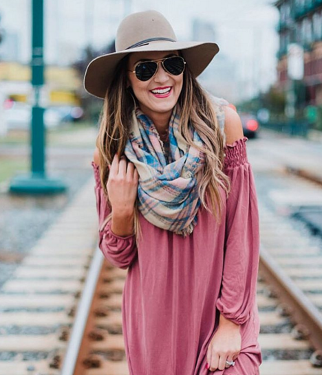 I love this blanket scarf paired with an off the shoulder dress and big floppy hat