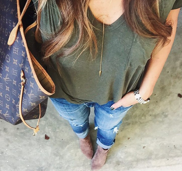 This simple v-neck t-shirt is perfect with distressed denim for a causal day