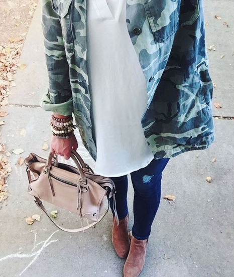 Camo jacket paired with skinny jeans and booties