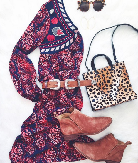 Embroidered midi dress with leopard bag and booties