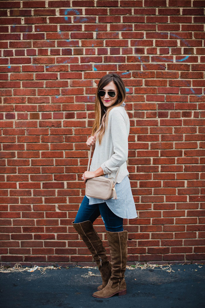Blogger Mallory Fitzsimmons of Style Your Senses wears a tunic layered sweaters with Dolce Vita over the knee suede boots for an easy and chic on-the-go mom outfit.