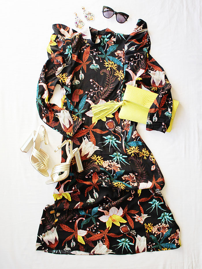 Floral dress from HM paired with gold heels and neon Gigi New York Stella Clutch