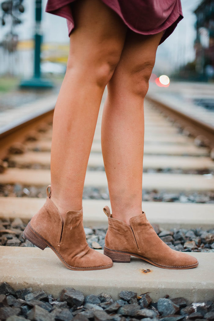 Tan suede Dolce Vita low cut ankle booties