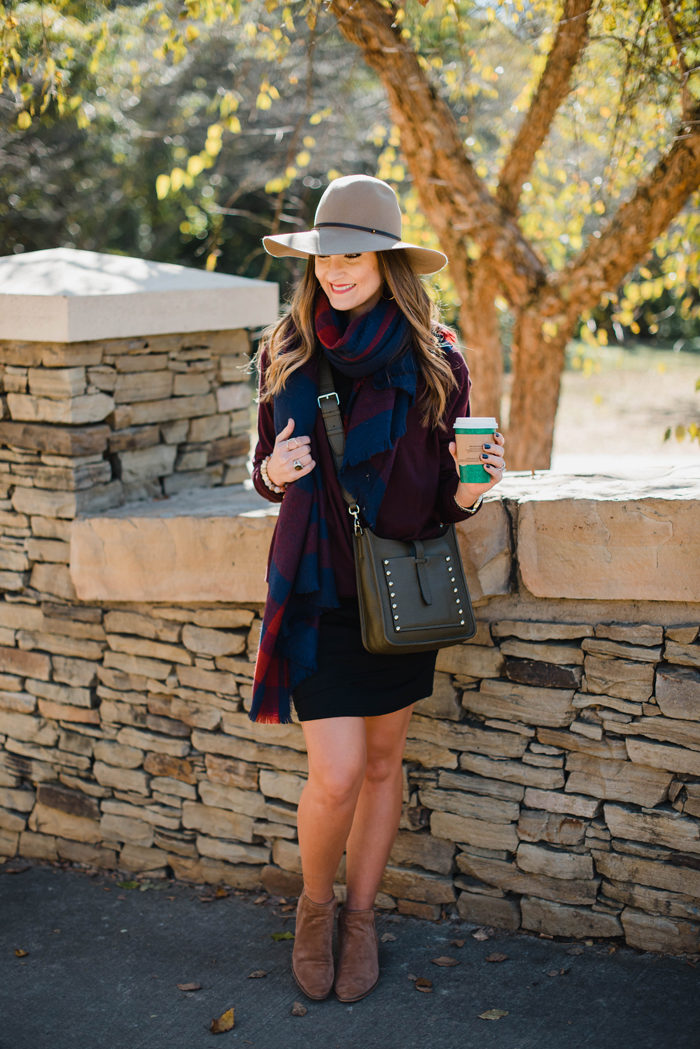Blogger Mallory Fitzsimmons of Style Your Senses wears a black body con dress with a large blanket scarf , felt hat and cross body Rebecca Minkoff bag for a transitional Fall outfit
