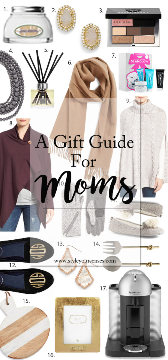 Holiday Gift Guide for moms and mother in laws. Chic gifts that are age appropriate and still on trend