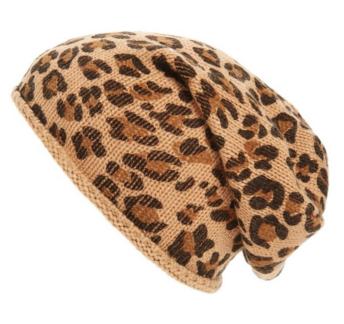 Leopard print slouchy beanie hat