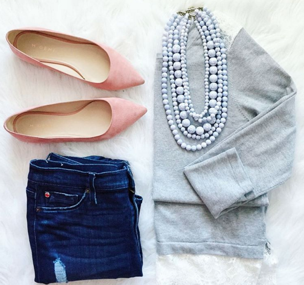 A fashion flat lay showing how to keep it simple by pairing this darling grey sweater with these blush suede flats