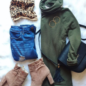 Fashion flat lay with a tunic turtleneck and suede booties